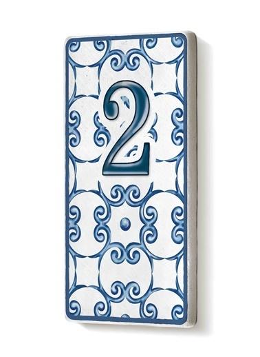 The Mia Kapı Numarası Mavi Beyaz 2 Mavi